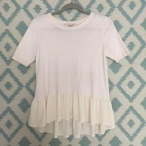 Ann Taylor White/Cream Flowy Shirt